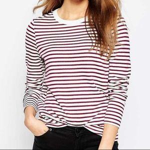ASOS Red Striped Boyfriend Tee Shirt Size US 20